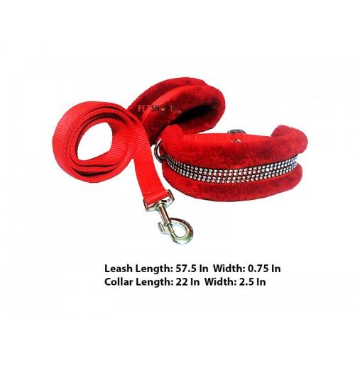 Super Dog Nylon Fur Diamond Dog Collar And Leash Set 0.75 Inch