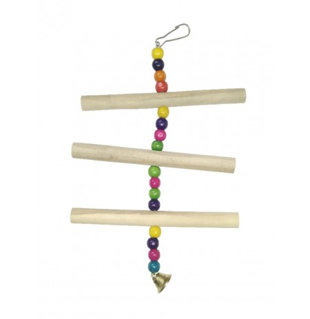 3 Step Ladder With Wooden Beads Hanging Bird Toy