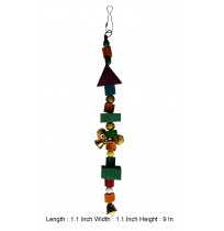 Multicolor Wooden Blocks And Beads With 4 Bell Bird Toy