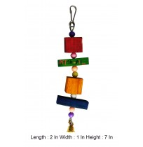 Small Hanging Multicolor Wooden Blocks With Bell Bird Toy