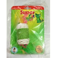 Super Cat Toy White And Green Jute With Feathers