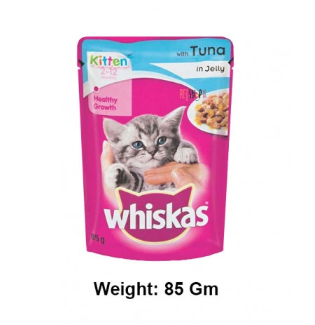 Whiskas Kitten Food With Tuna In Jelly Gravy Pouch 85g