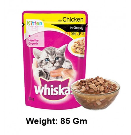 Whiskas Kitten Food Chicken In Gravy Pouch 85 Gm