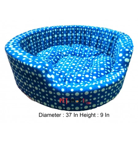 White Polka Dot Blue Bed Large