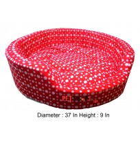 White Polka Dot Red Bed Large