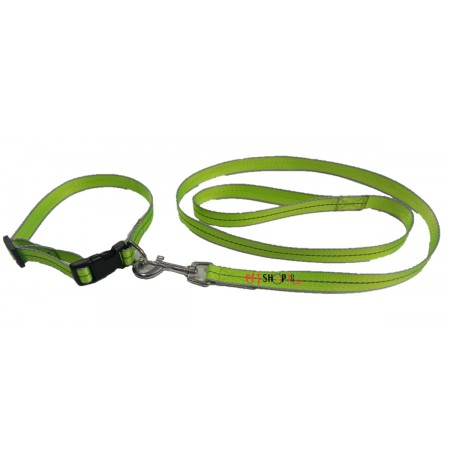 Scoobee Dog Nylon Reflective Collar And Leash Set 0.75 Inch