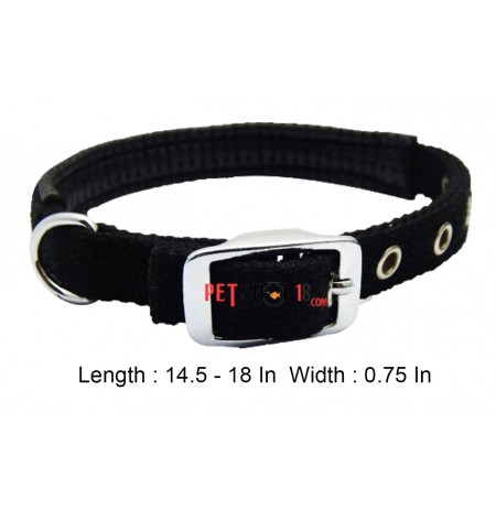 Imported Padded Nylon Collar Black 0.75 In