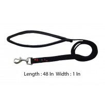 Imported Padded Nylon Leash Black 1 In