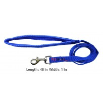 Imported Padded Nylon Leash Blue 1 In