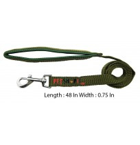 Imported Padded Nylon Leash Green 0.75 In