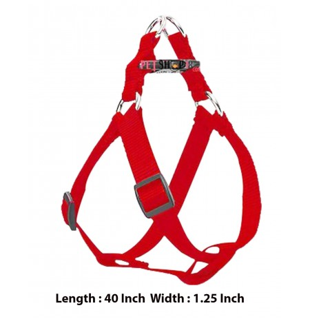 Nylon Adjustable Dog Harness Red 1.25 Inch