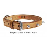Super Dog Spike Leather Collar  0.75 In