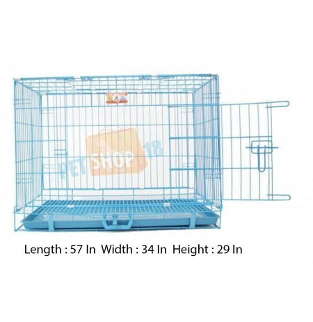 Sky Blue Metal Dog Cage XL
