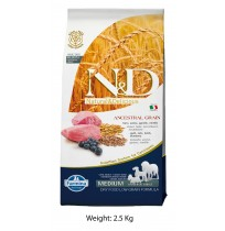 Farmina ND Medium Adult Dog Food Lamb And Blueberry Low Grain 2.5 Kg