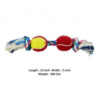 Super Dog Two Knotted Rope Toy With Two Tennis Ball