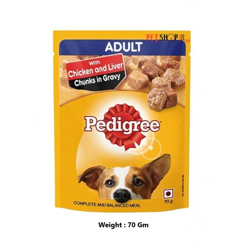 Pedigree Adult Dog Treats Chicken And Liver Chunks In Gravy 70 Gm Petshop18.com