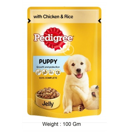 Pedigree Dog Treats Puppy Jelly Chicken And Rice Gravy Pouch 100 Gm