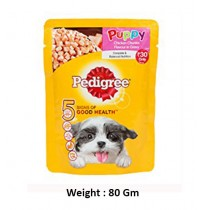 Pedigree Puppy Chicken Chunks Flavor In Gravy Pouch 80Gm