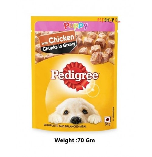 Pedigree Puppy Treats Chicken Chunks In Gravy 70 Gm Petshop18.com