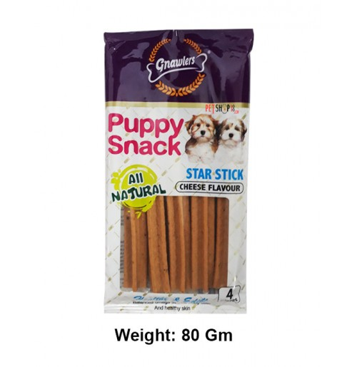 Gnawlers Dog Treats Puppy Snack Star Stick Cheese Flavour 4 In 1 80 Gm
