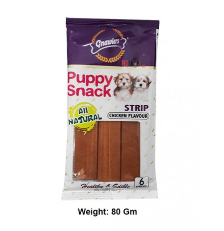 Gnawlers Dog Treats Puppy Snack Strip Chicken Flavour 6 In 1 80 Gm