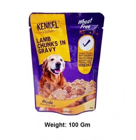Kennel Kitchen Dog Treats Wheat Free Lamb Chunks In Gravy Pouch 100 Gm