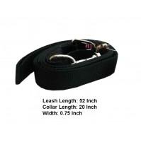 Nylon Dog Collar Leash Set Black 0.75 In