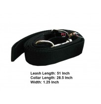 Nylon Dog Collar Leash Set Black 1.25 In