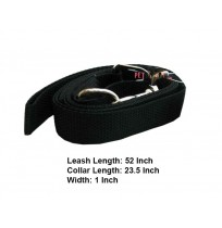 Nylon Dog Collar Leash Set Black 1 In
