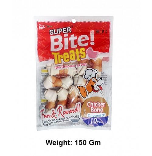 Super Bite Dog Treats Knotted Chicken Bone 3 Inch 10 In 1