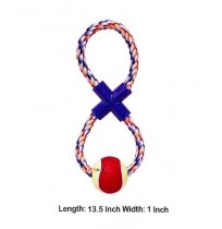 Super Dog Dog Toy Cotton X Knot Eight Shape Rope Toy With Tennis Ball