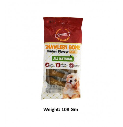 Gnawlers Dog Treat Chicken Bone 3 Inch 6 In 1 Petshop18.com