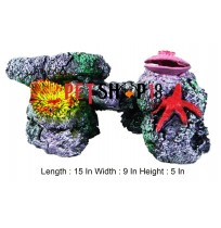 Colorful Coral With Star Fish And Shell Aquarium Toy
