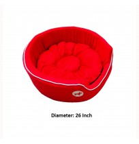 Red Bed With Dog Print Small