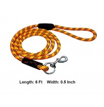 Rope Leash Black And Orange Large 6 Ft