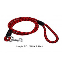 Rope Leash Red And Black Strips 0.5 Inch L