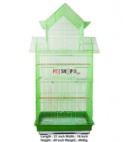 Bird Cage Hut Shape Large Green