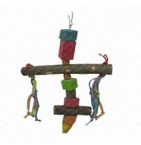 Wooden Perch with wooden blocks bird toy