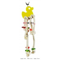 Yellow Duck With Ropes And Beads Small Bird Toy