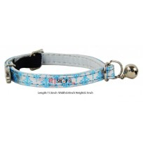 Elastic Sky Blue Fancy Collar With Adjustable Bell
