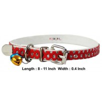 Fancy Pet Bell Collar Red 0.4 Inch