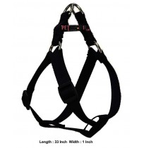 Super Dog Nylon Adjustable Dog Harness Black 1 Inch