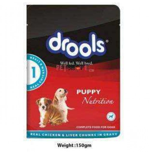 Drools Puppy Real Chicken And Liver Chunks In Gravy Pouch 150 Gm