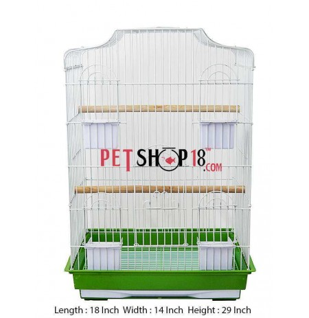 Bird Cage Heavy Metal Semi Flat Large White