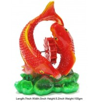 2 Fishes With Red Wheel Aquarium Decor