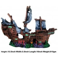 Broken Pirate Ship Aquarium Decor