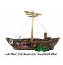 Large Ship With Anchor Aquarium Toy