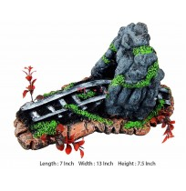 Railway Track Under Hill Aquarium Toy