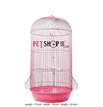 Cylindrical Shaped Bird Cage Large Pink
