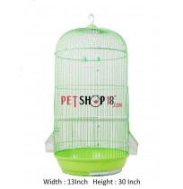 Cylindrical Shaped Bird Cage Medium Green